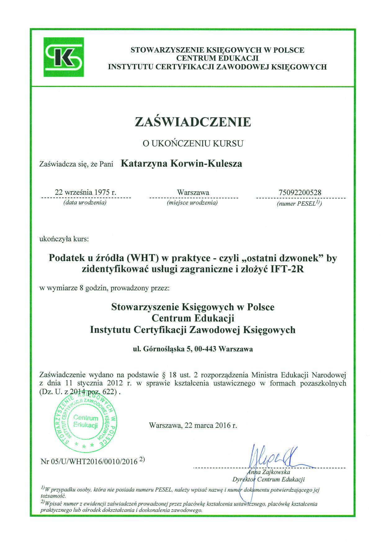 , Certyfikaty