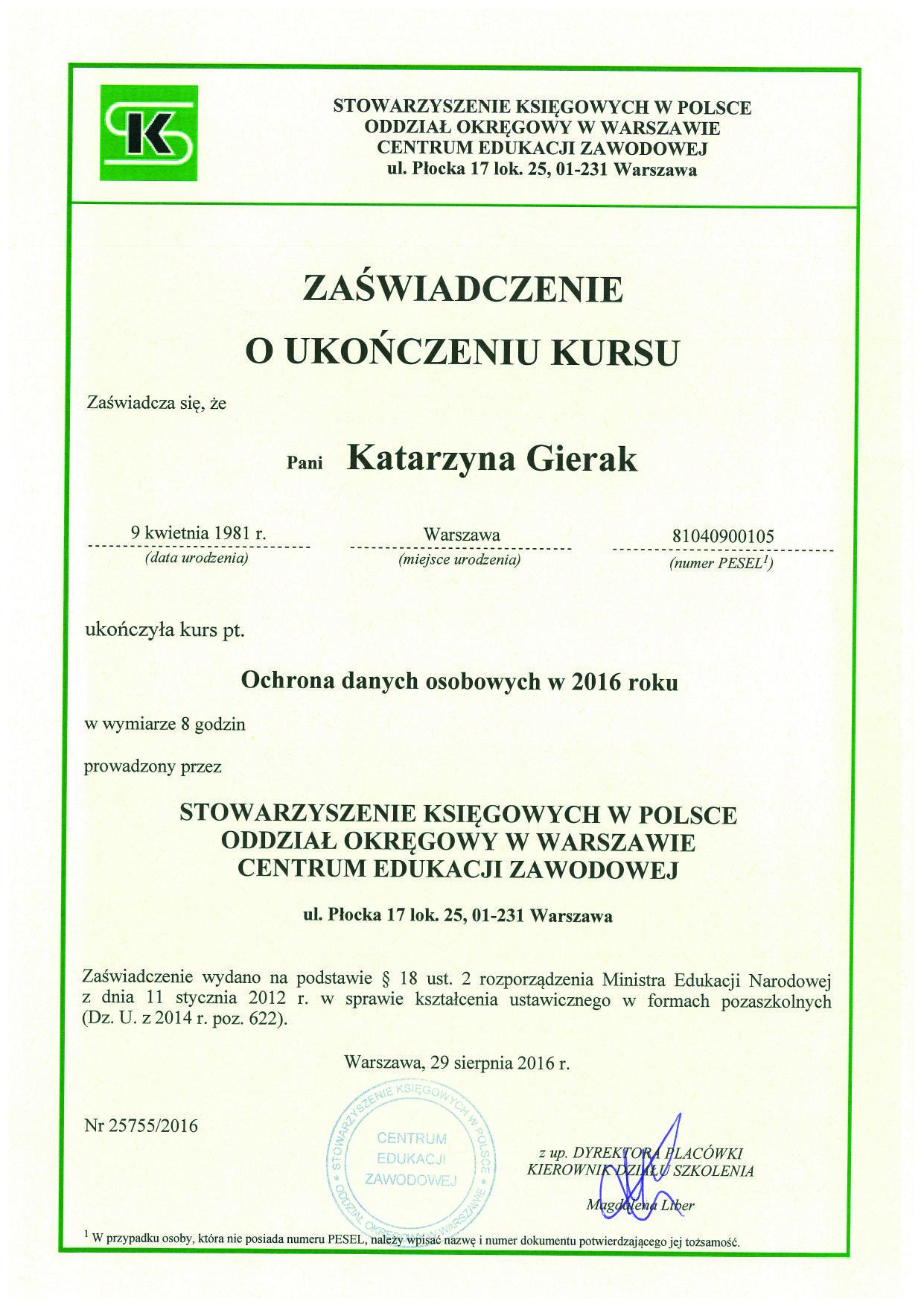 , Zertifikate